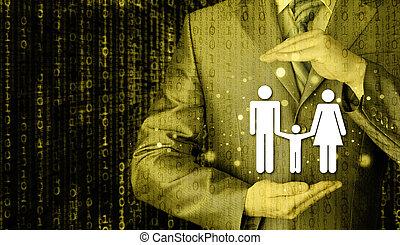 zakenman, beschermen, gezin, verzekering, concept