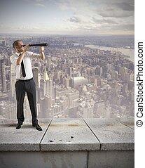 zakenman, blik, voor, nieuwe zaken