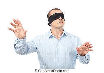 zakenman, blindfolded