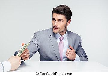 zakenman, boeiend, steekpenning