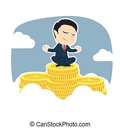 zakenman, bovenzijde, muntjes, het peinzen, piek