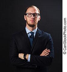 zakenman, brillen, kostuum