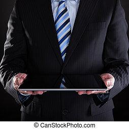 zakenman, close-up, gebruik, tablet, digitale