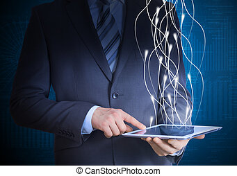 zakenman, computer, vasthouden, tablet, kostuum