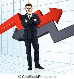 zakenman, concept, financiële investering, adviseur