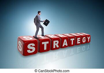 zakenman, concept, handel strategie