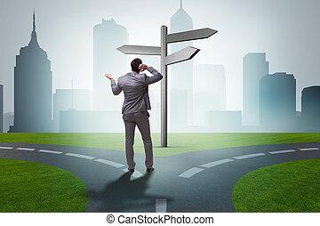 zakenman, concept, moeilijk, keuze
