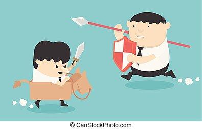 zakenman, concept, spotprent, illustratie, oorlog