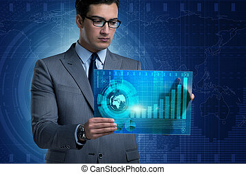 zakenman, concept, verhandelen online