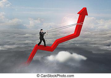 zakenman, controle, richtingwijzer, richting, van, 3d, rood, trend, lijn