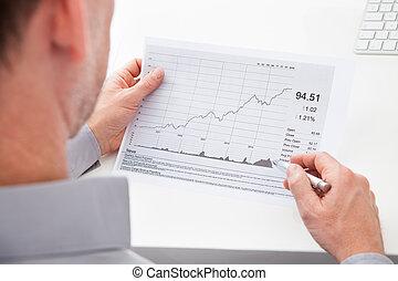 zakenman, document, financieel, analyzing
