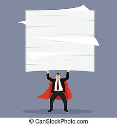 zakenman, documenten, superhero, het tilen, partij