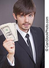 zakenman, dollars, hand