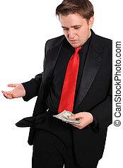 zakenman, dollars, weinig