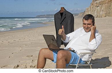 zakenman, doorwerken, de, strand, !