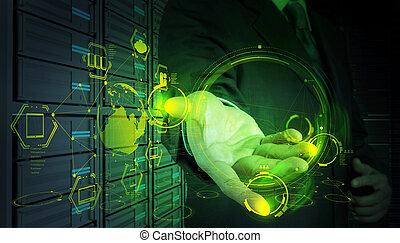 zakenman, doorwerken, moderne technologie