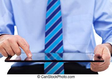 zakenman, doorwerken, tablet, computer