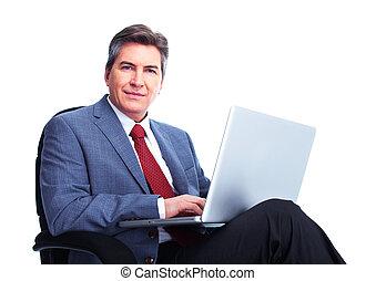 zakenman, draagbare computer, computer.