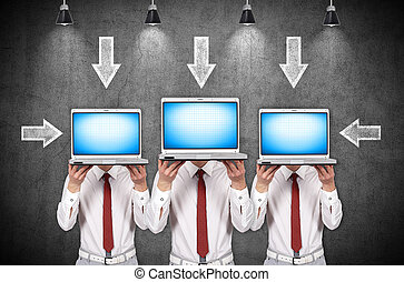 zakenman, draagbare computer, drie, vasthouden