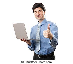 zakenman, draagbare computer, mooi