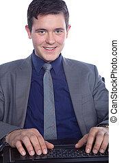 zakenman, draagbare computer