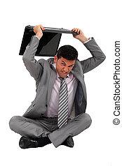 zakenman, draagbare computer, sat, botsen, vloer