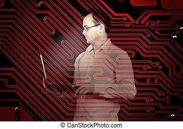 zakenman, draagbare computer, vasthouden