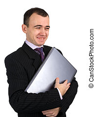 zakenman, draagbare computer, vrolijke