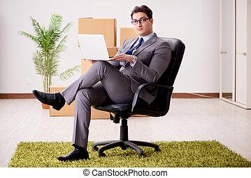 zakenman, draagbare computer, zijn, werkende