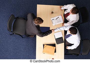 zakenman, -, drie, 1, sollicitatiegesprek, vergadering