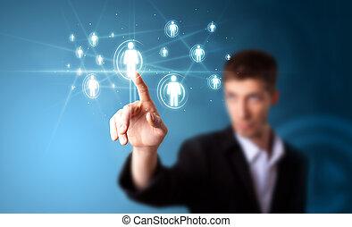 zakenman, dringend, moderne, sociaal, type, van, iconen