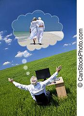 zakenman, dromen, vakantie, pensioen, bureau, groen veld