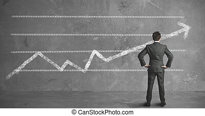 zakenman, en, bedrijf, trend