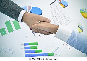 zakenman en businesswoman het schudden handen