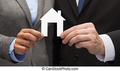 zakenman, en, businesswoman, vasthouden, wit huis