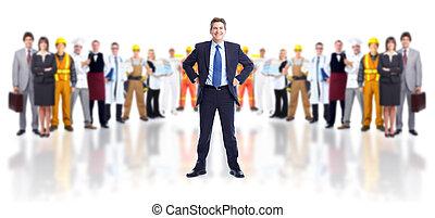 zakenman, en, groep, van, workers.