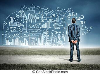 zakenman, en, zakelijk, schets