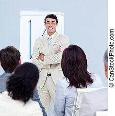 zakenman, ethnische , omzet, berichtgeving, figuren