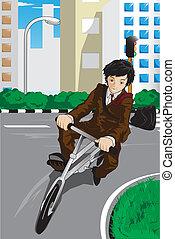 zakenman, fiets te rijden