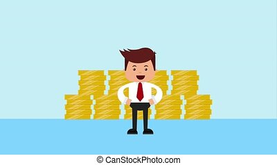 zakenman, financieel, geld