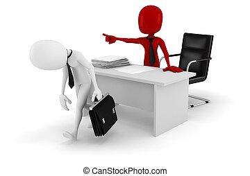 zakenman, -fired!, 3d, man