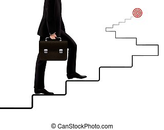 zakenman, gaan, doel, op