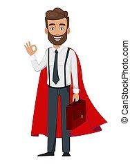 zakenman, gebaard, superhero, mantel, mooi