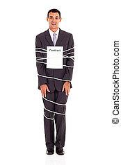 zakenman, gebonden, met, contracteren, volledige lengte