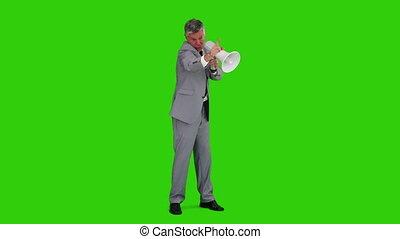 zakenman, geven, order, met, een, megafoon