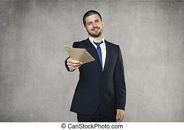 zakenman, geven, steekpenning