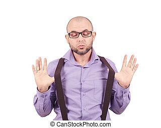 zakenman, glasses., hartelijk
