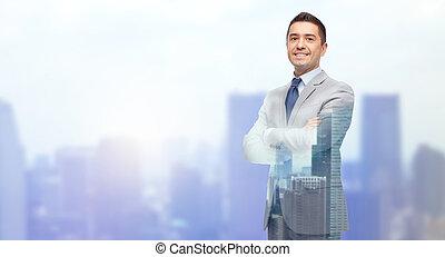 zakenman, glimlachen gelukkig, kostuum