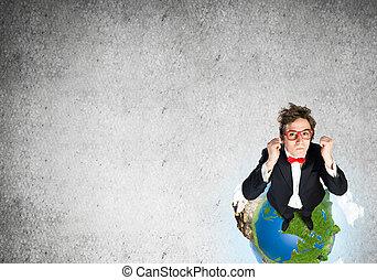 zakenman, globe, aarde