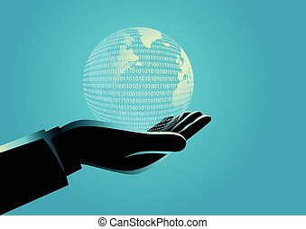 zakenman, globe, digitale , holdingshand
